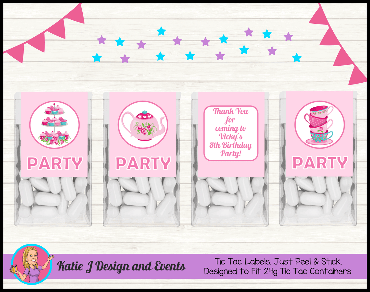 Personalised Tea Party Birthday Tic Tac Mint Labels