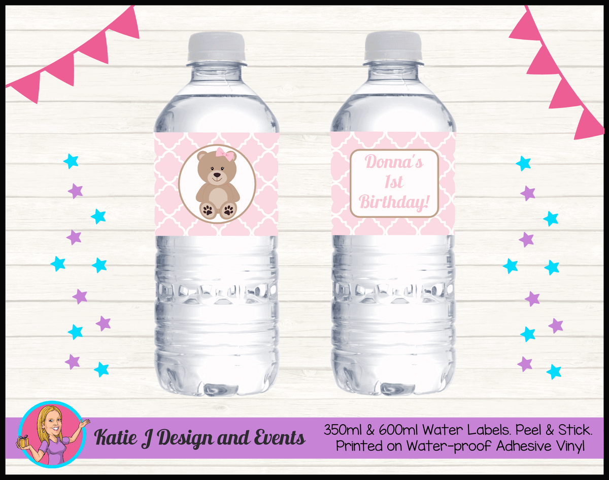 Personalised Girls Teddy Bear Birthday Party Water Labels