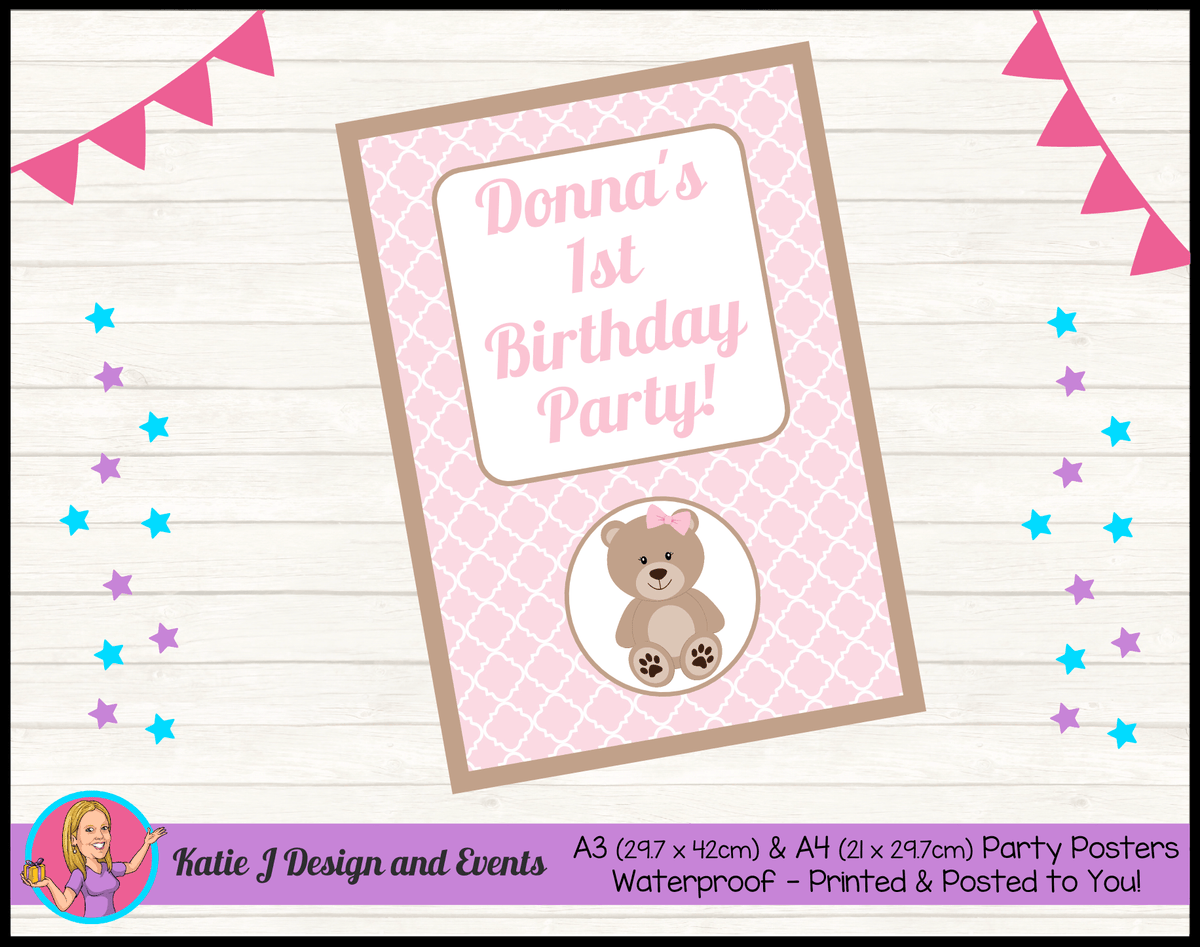 Personalised Girls Teddy Bear Birthday Party Poster