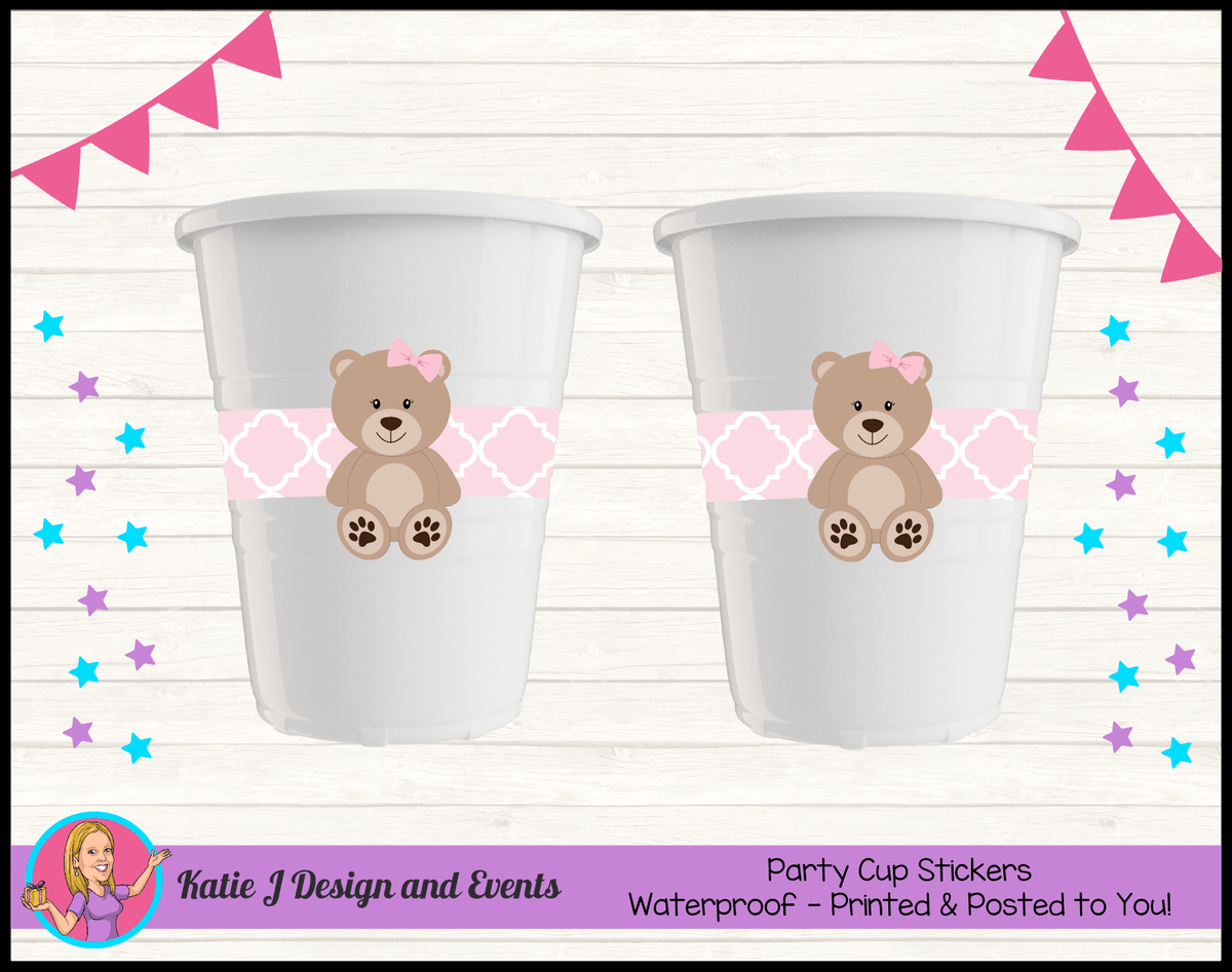 Personalised Girls Teddy Bear Birthday Party Cups