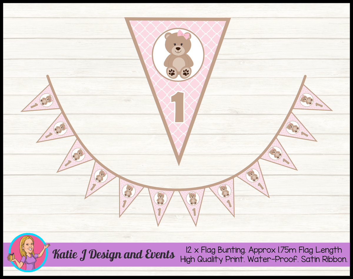 Personalised Girls Teddy Bear Birthday Party Flag Bunting