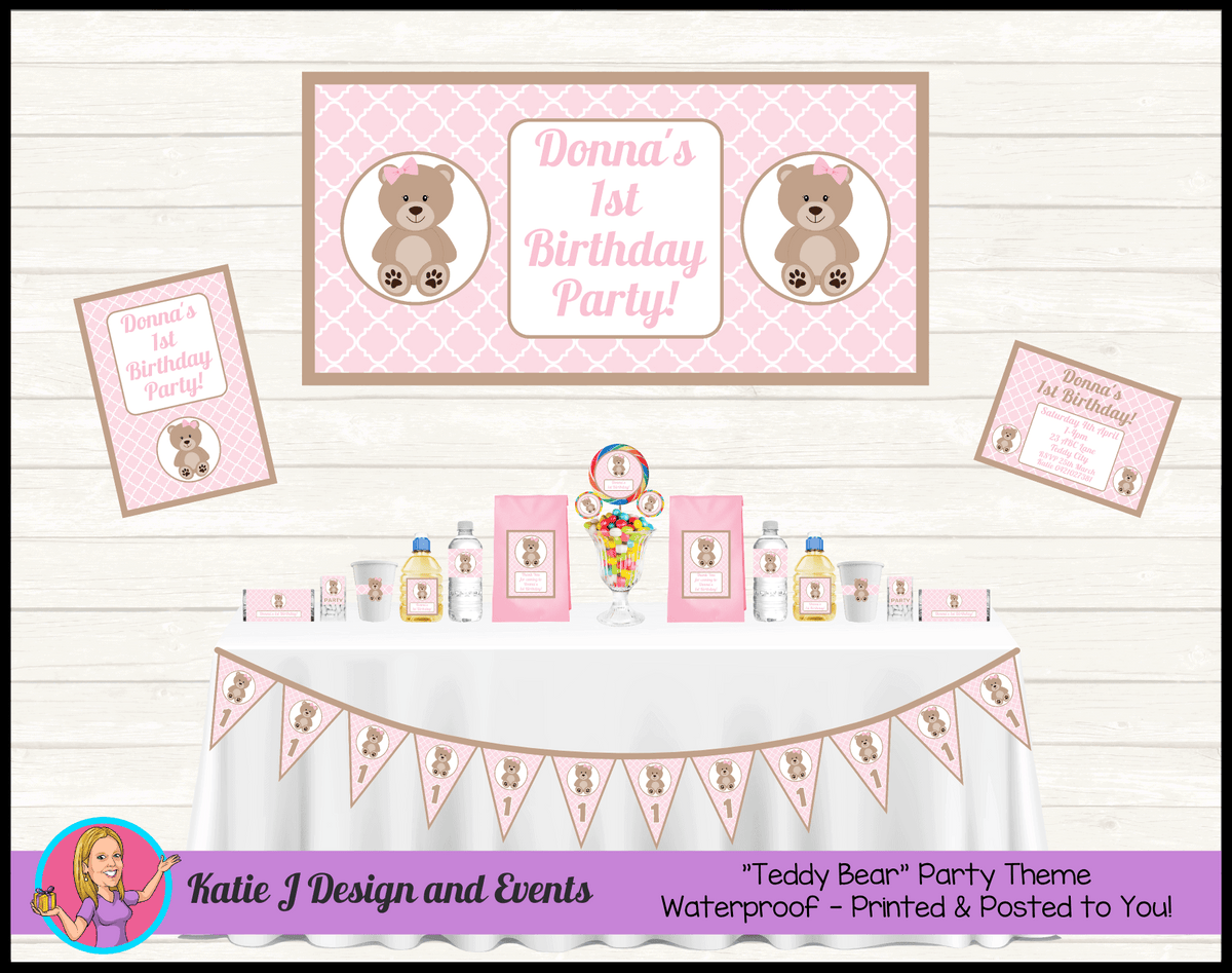 Personalised Girls Teddy Bear Birthday Party Packs Decorations Supplies