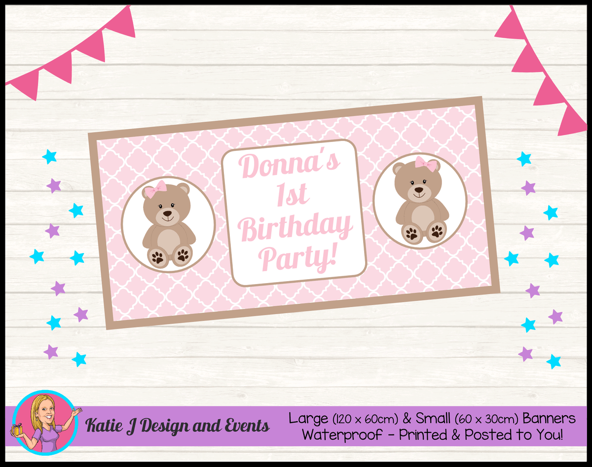 Personalised Girls Teddy Bear Birthday Party Banner