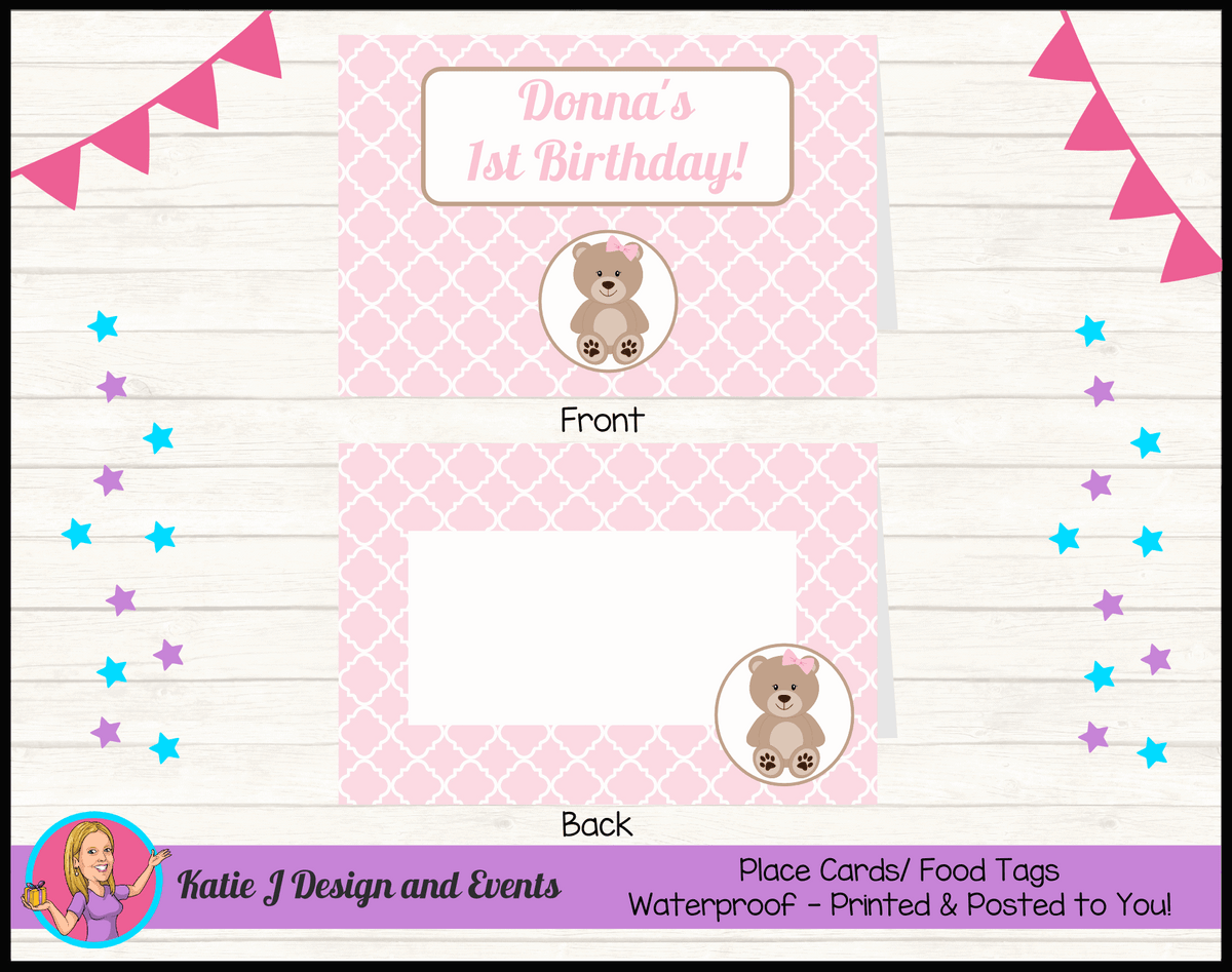 Personalised Girls Teddy Bear Birthday Party Place Cards