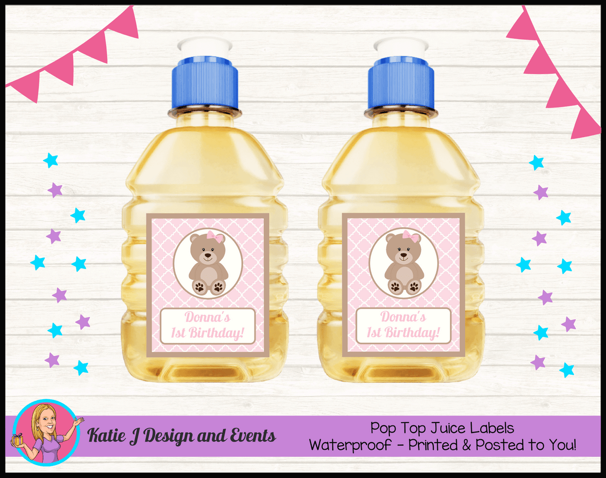 Personalised Girls Teddy Bear Pop Top Juice Labels