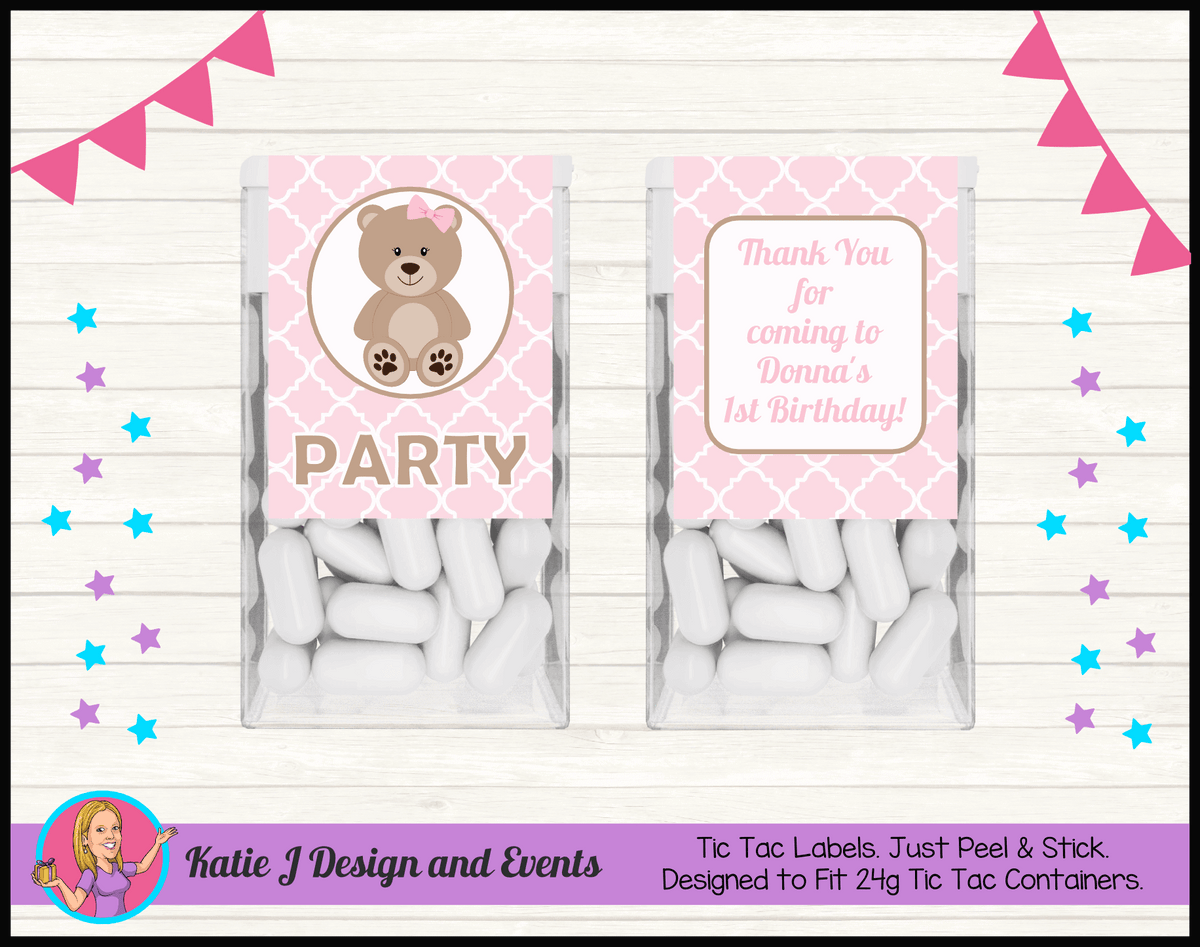 Personalised Girls Teddy Bear Birthday Tic Tac Mint Labels