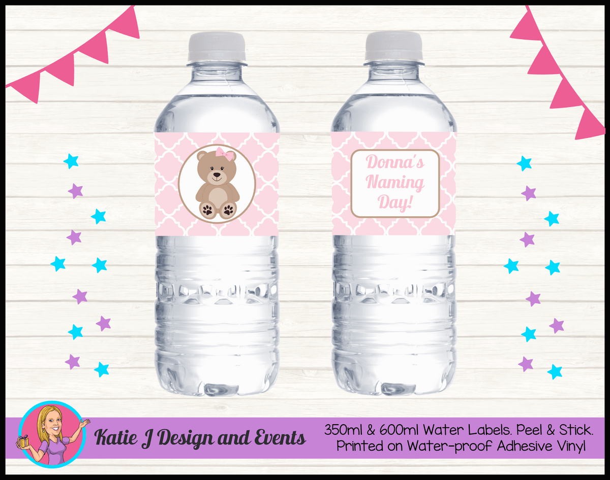 Personalised Girls Teddy Bear Naming Day Water Labels