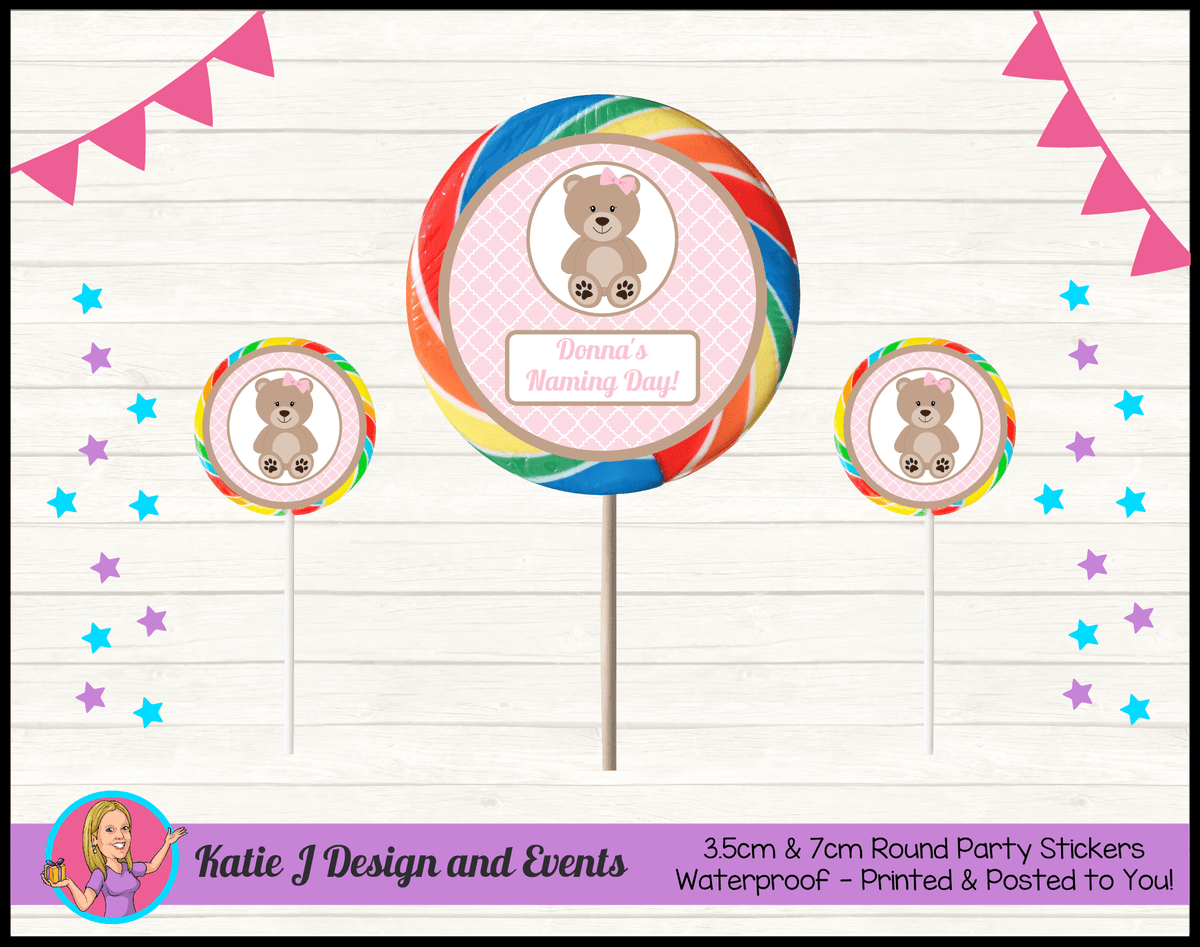 Personalised Girls Teddy Bear Naming Day Round Lollipop Stickers