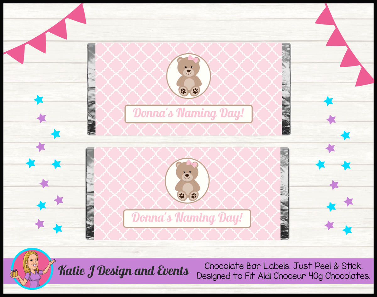 Personalised Girls Teddy Bear Naming Day Chocolate Labels Wrappers