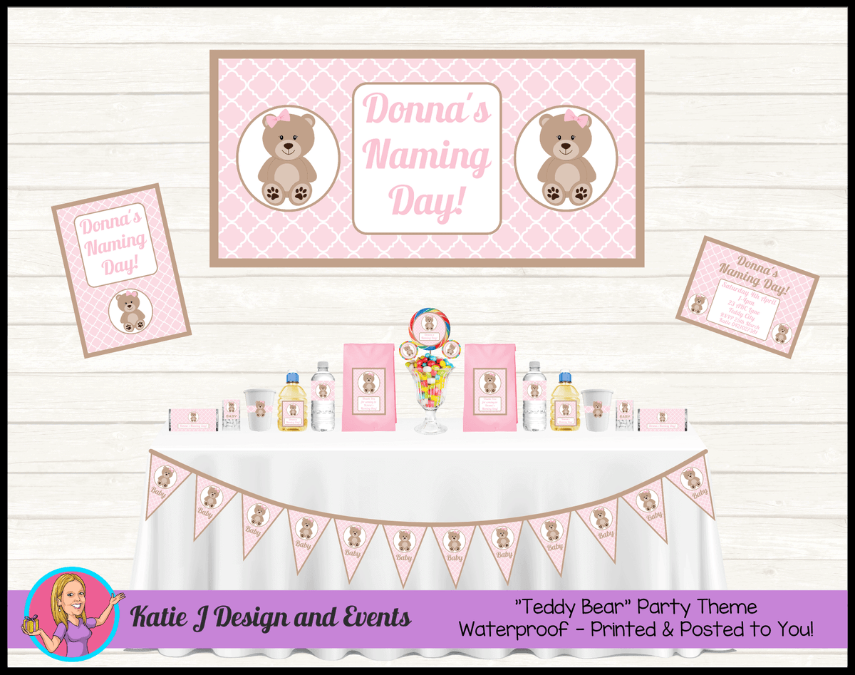 Personalised Girls Teddy Bear Naming Day Packs Decorations Supplies