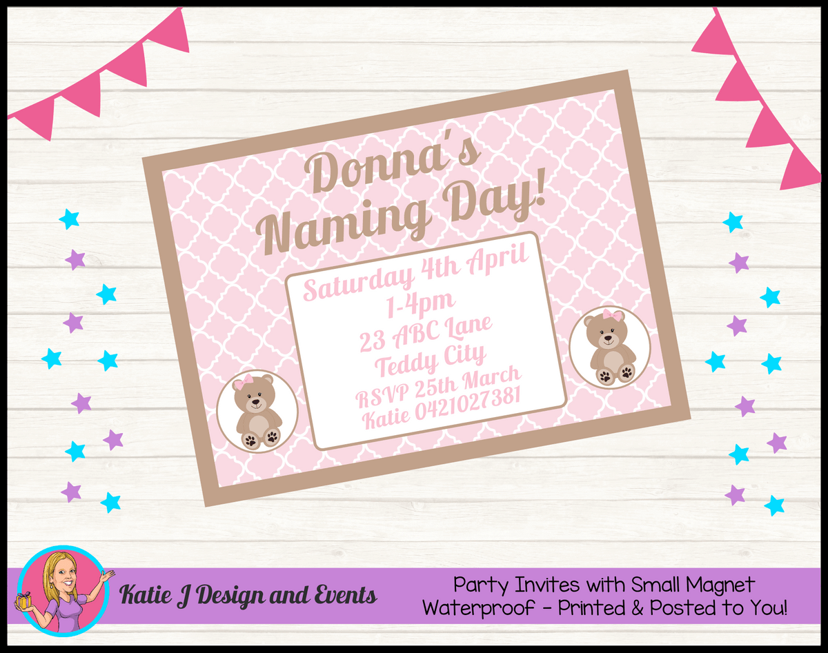 Personalised Girls Teddy Bear Naming Day Invites Invitations