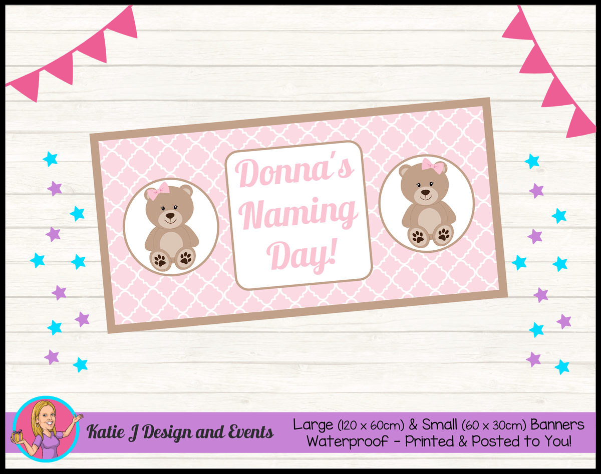 Personalised Girls Teddy Bear Naming Day Banner