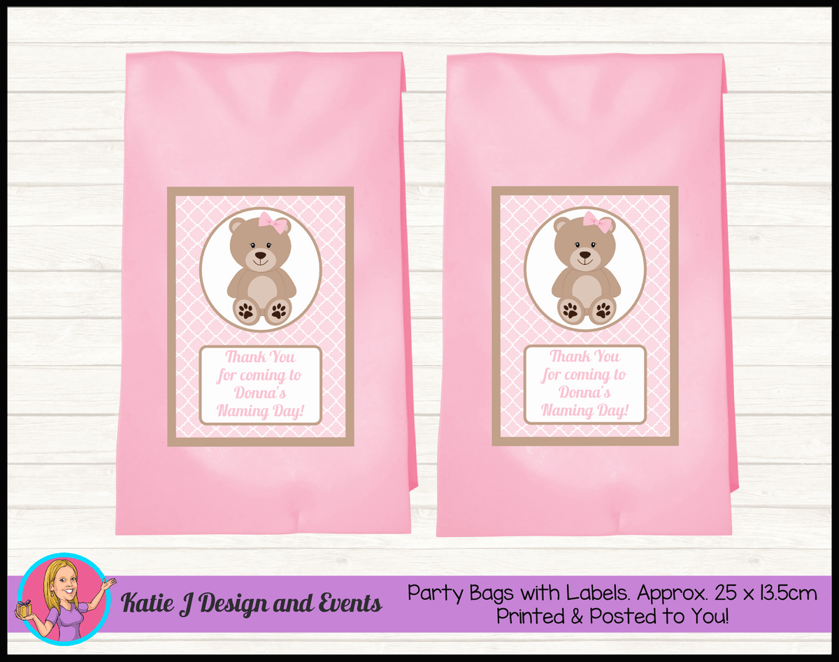 Personalised Girls Teddy Bear Naming Day Party Loot Bags