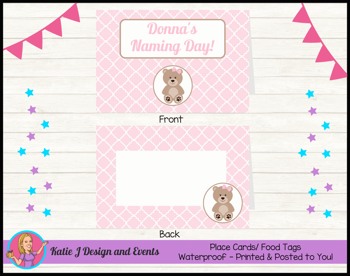 Personalised Girls Teddy Bear Naming Day Place Cards
