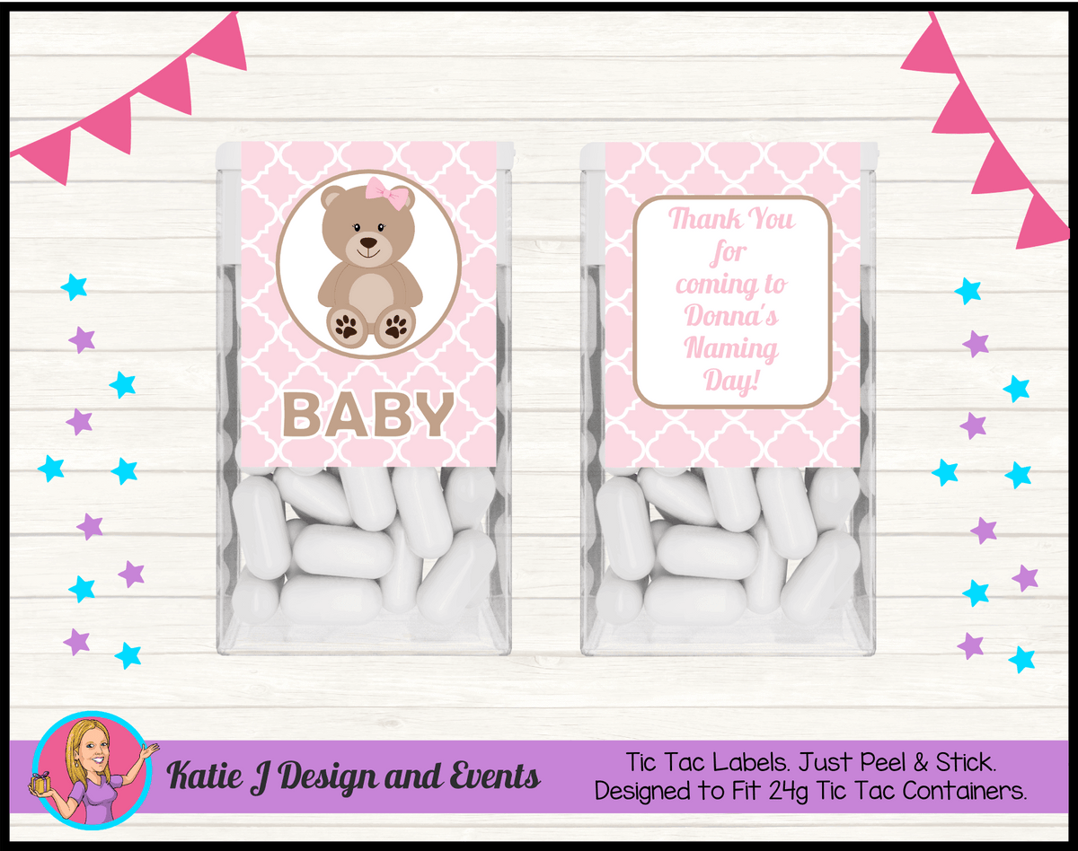 Personalised Girls Teddy Bear Naming Day Tic Tac Mint Labels