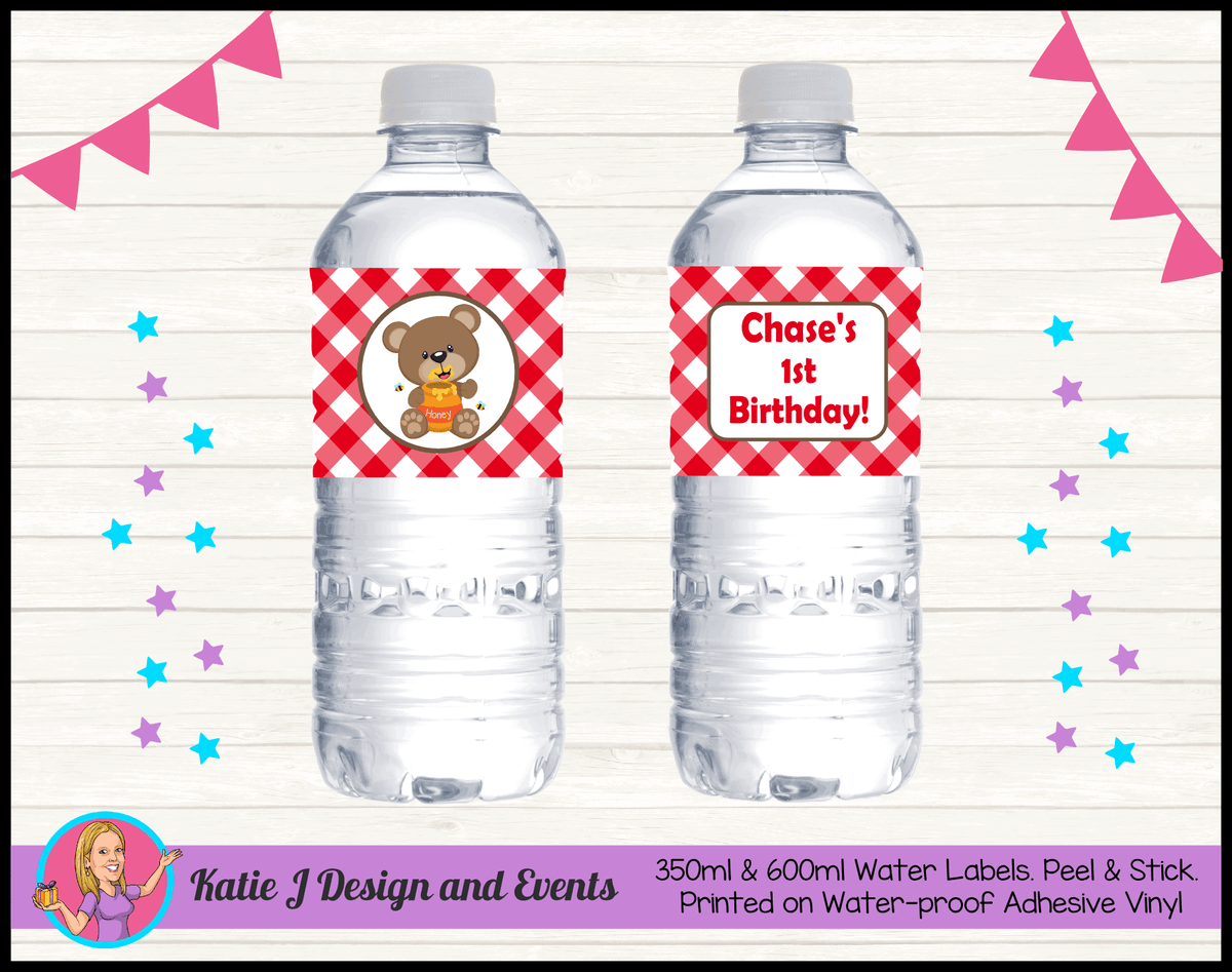 Personalised Teddy Bears Picnic Birthday Water Labels