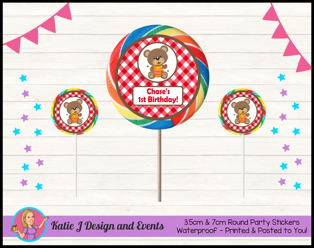 Personalised Teddy Bears Picnic Birthday Round Lollipop Stickers