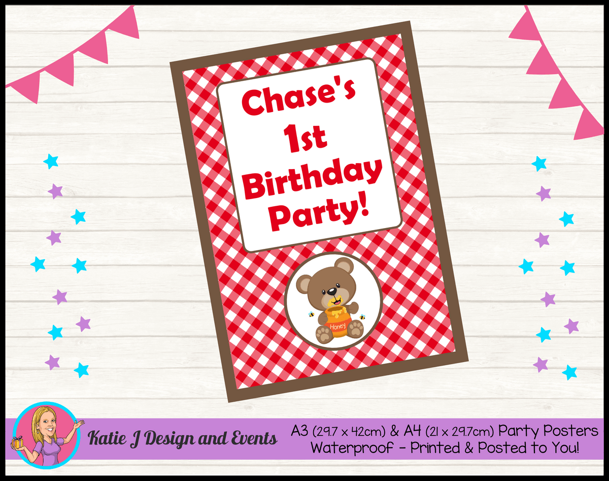 Personalised Teddy Bears Picnic Birthday Party Poster