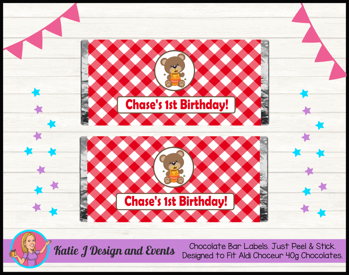 Personalised Teddy Bears Picnic Birthday Chocolate Labels Wrappers