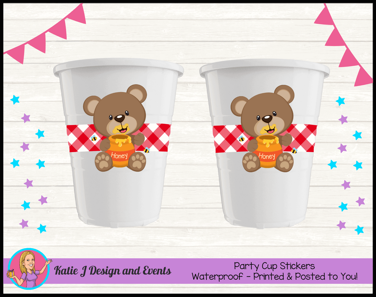 Personalised Teddy Bears Picnic Party Cups Cup Stickers