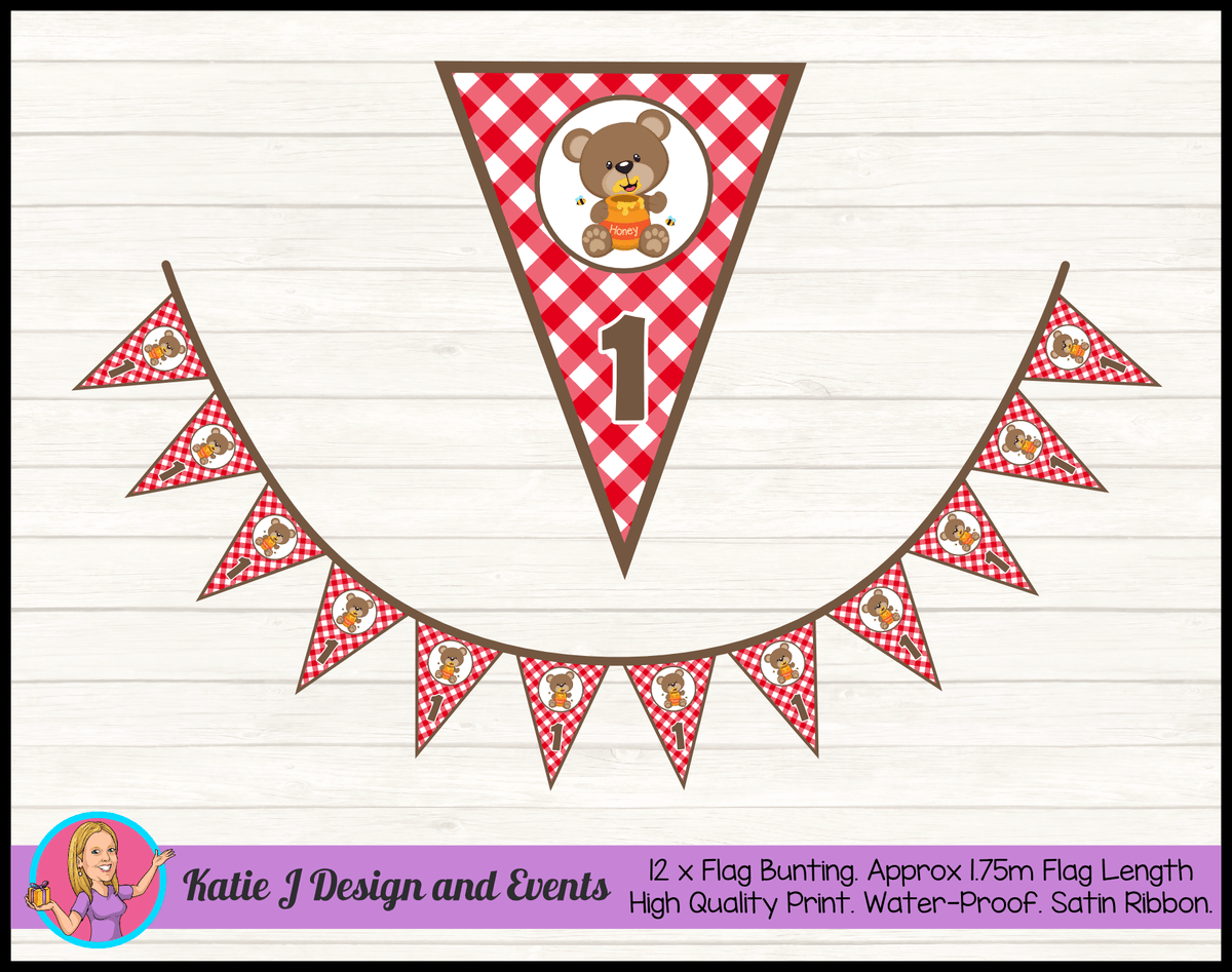 Personalised Teddy Bears Picnic Birthday Party Flag Bunting