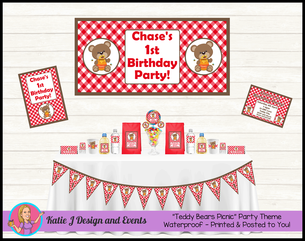 Personalised Teddy Bears Picnic Party Packs Decorations Supplies