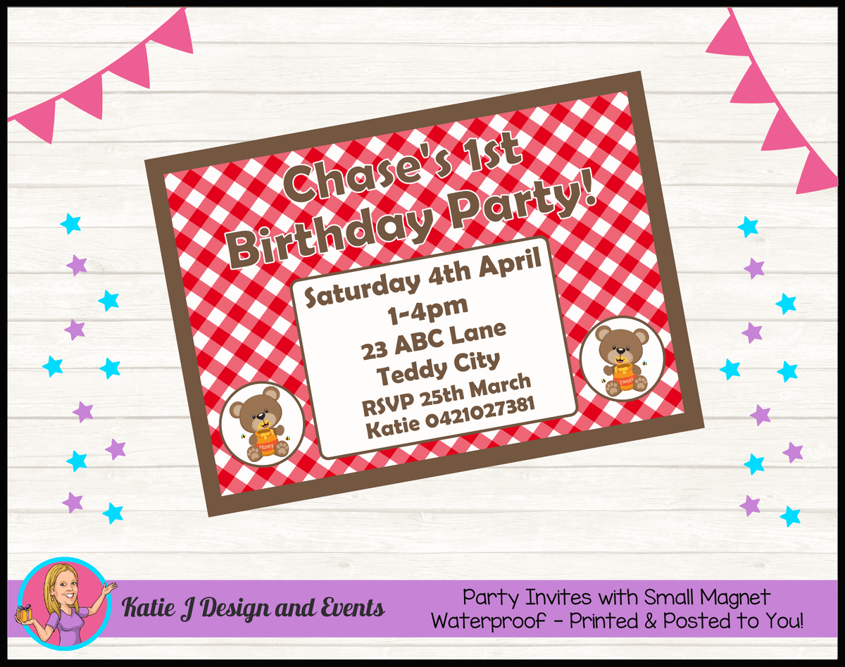 Personalised Teddy Bears Picnic Birthday Party Invites Invitations