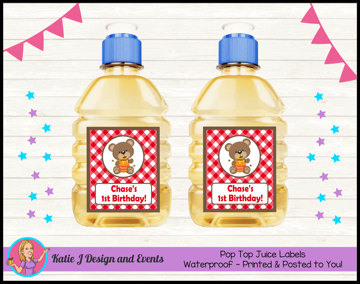 Personalised Teddy Bears Picnic Pop Top Juice Labels