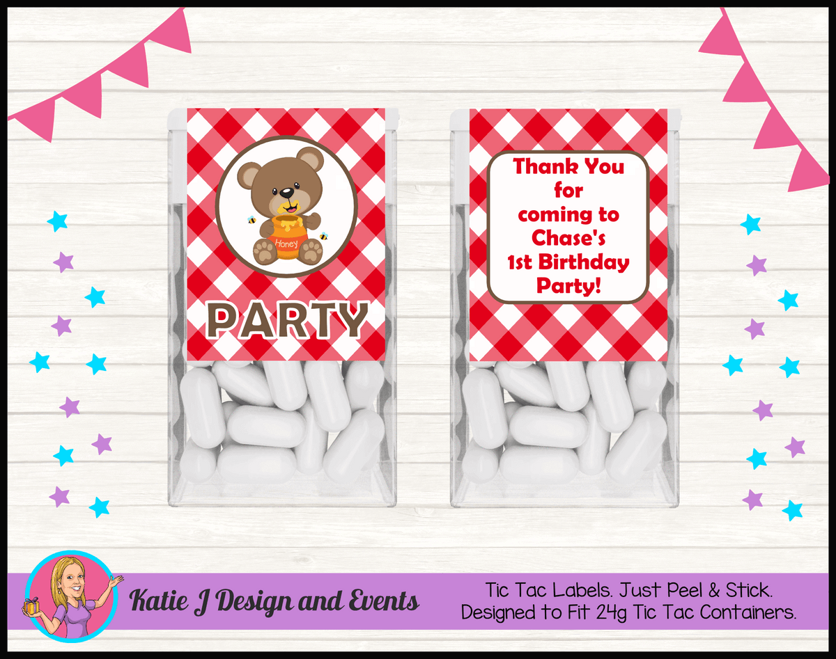 Personalised Teddy Bears Picnic Tic Tac Mint Labels