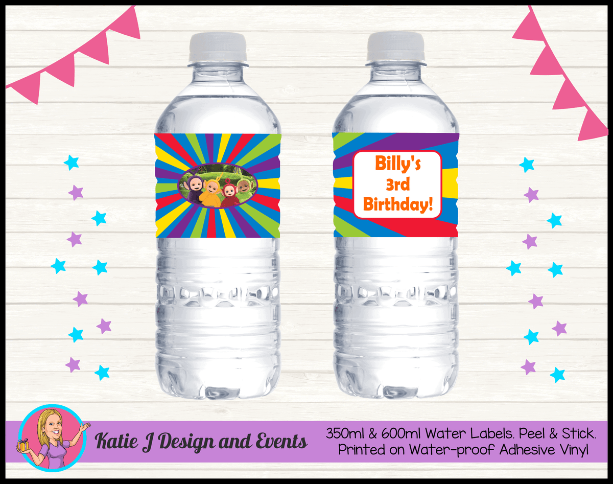 Personalised Teletubbies Birthday Water Labels