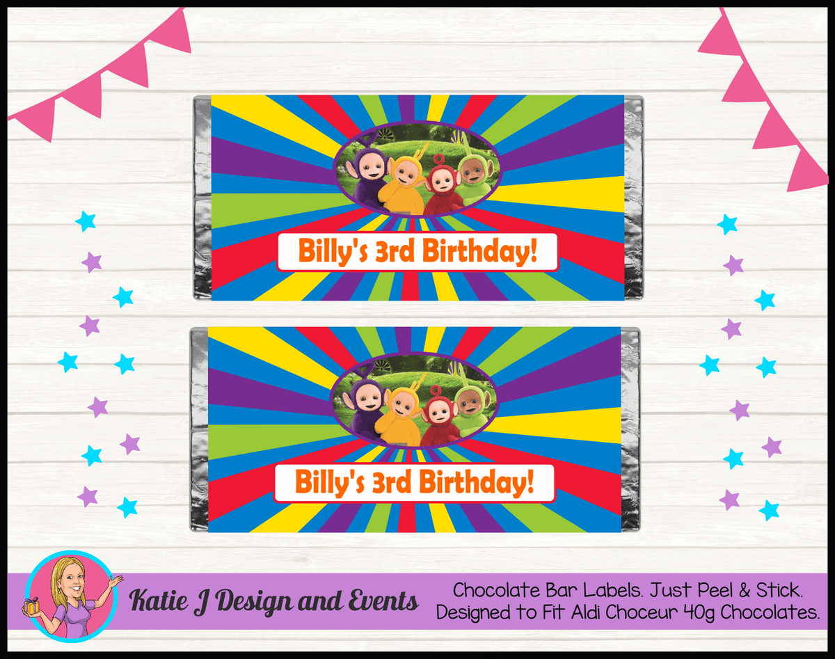 Personalised Teletubbies Birthday Chocolate Labels Wrappers