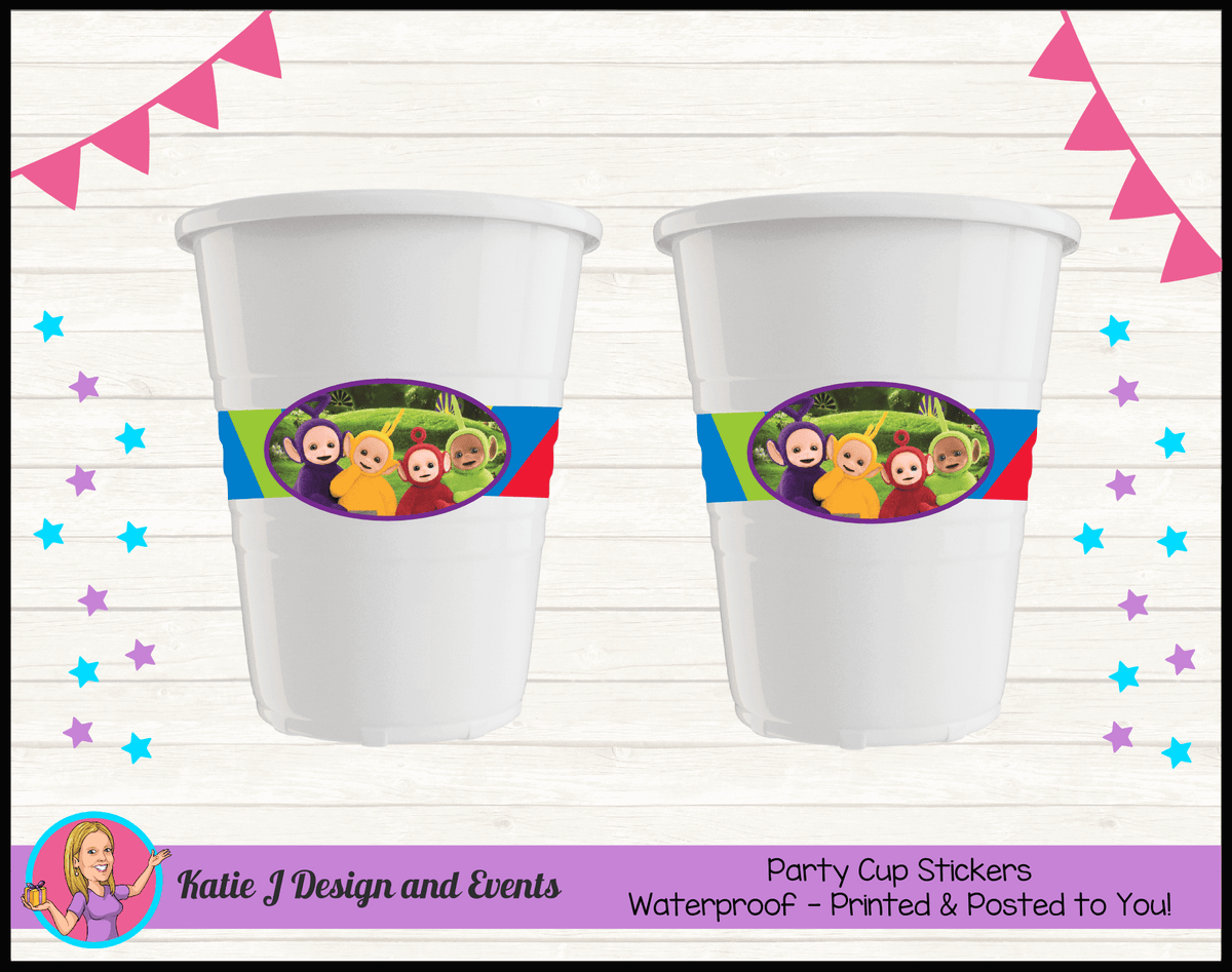 Personalised Teletubbies Party Cups Cup Stickers