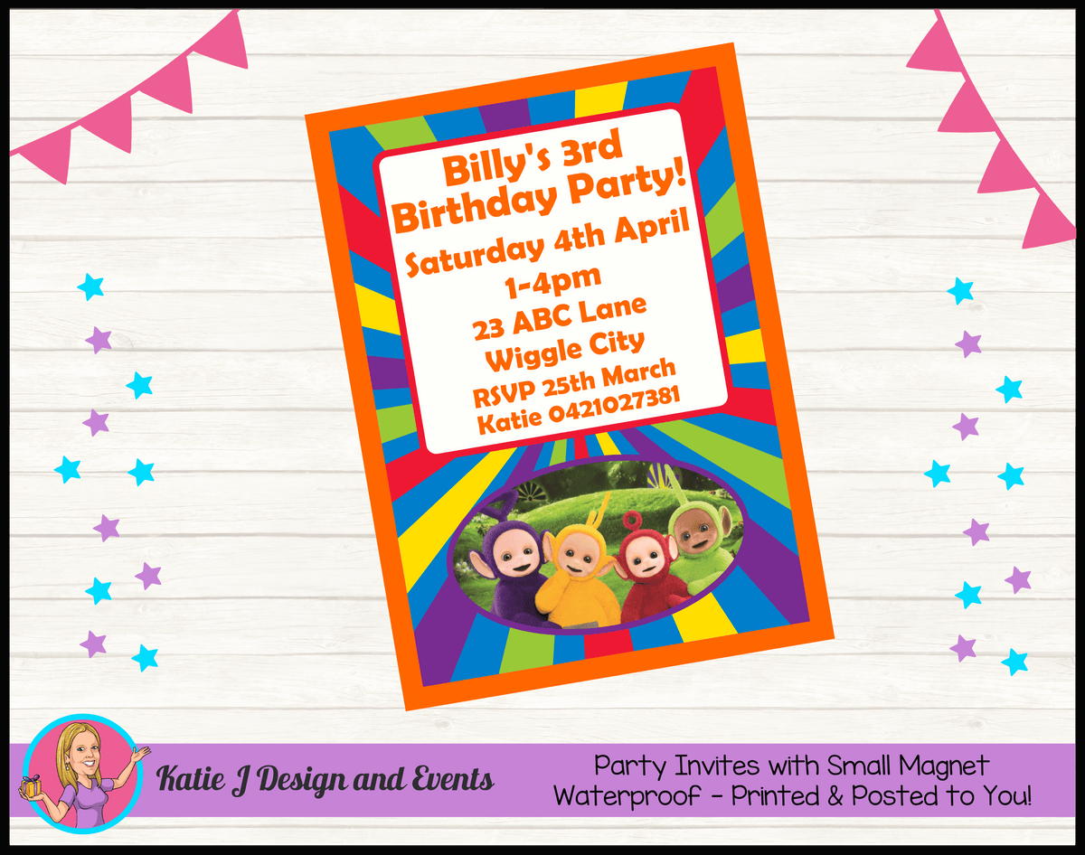 Personalised Teletubbies Birthday Party Invites Invitations