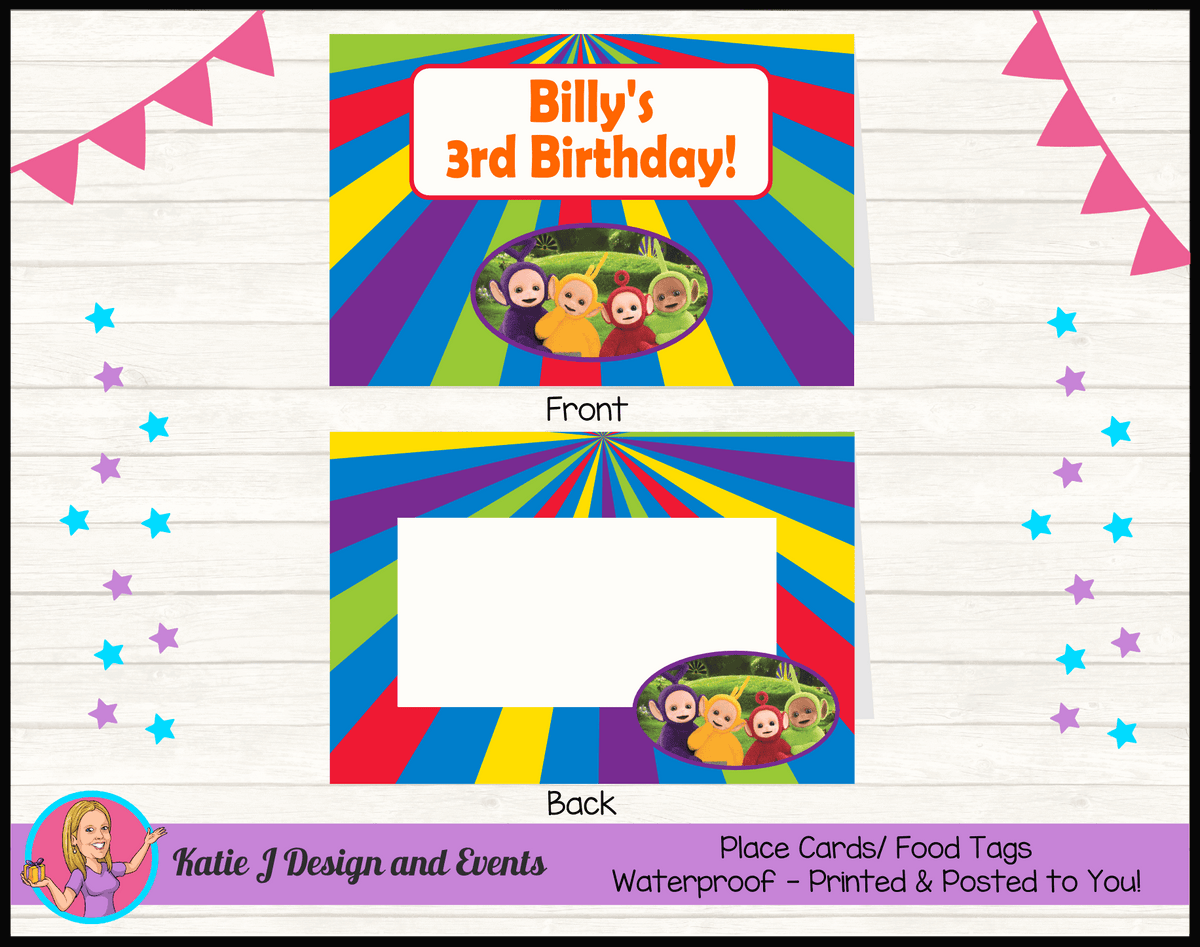 Personalised Teletubbies Birthday Party Place Cards