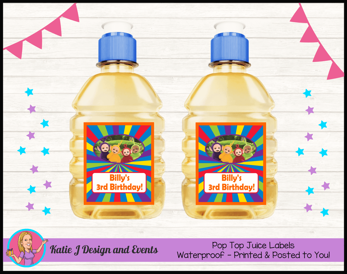 Personalised Teletubbies Pop Top Juice Labels