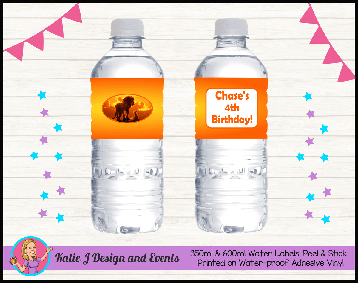 Personalised Lion King Movie Birthday Party Water Labels