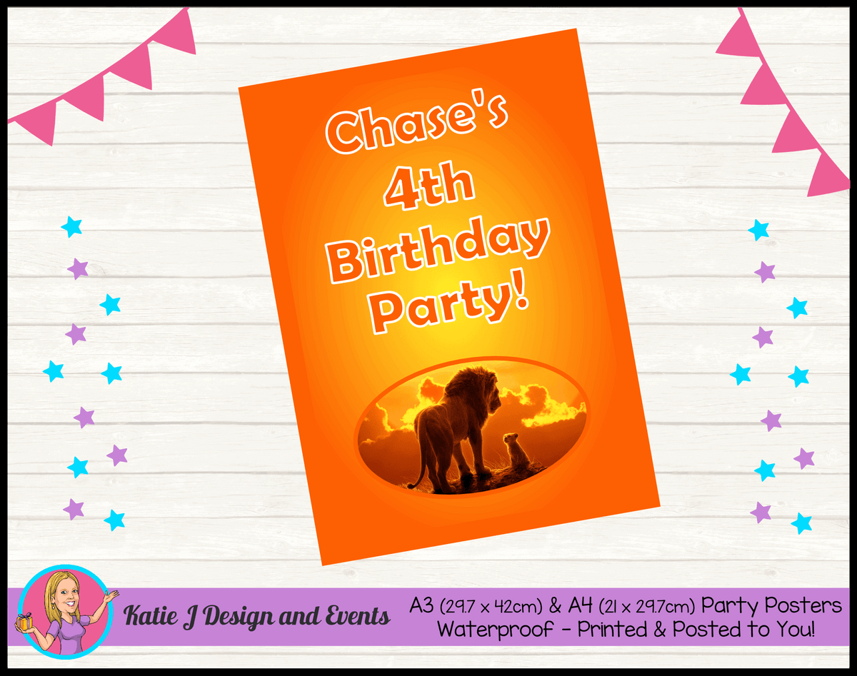 Personalised Lion King Movie Birthday Party Poster