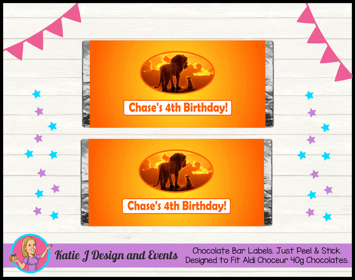 Personalised Lion King Movie Birthday Chocolate Labels Wrappers