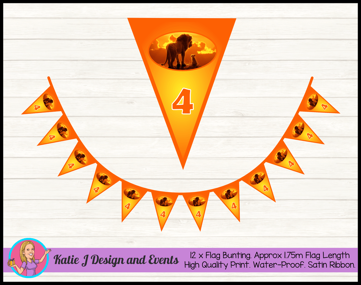 Personalised Lion King Movie Birthday Party Flag Bunting