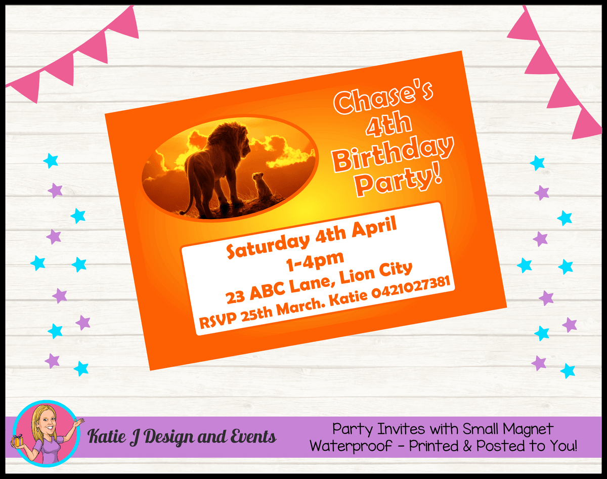 Personalised Lion King Movie Birthday Party Invites