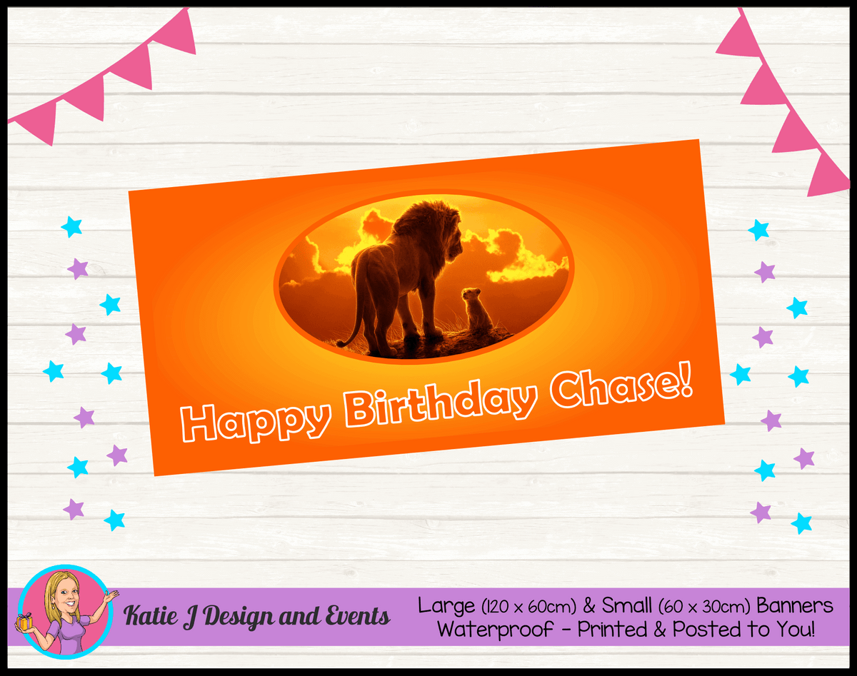 Personalised Lion King Movie Birthday Party Banner