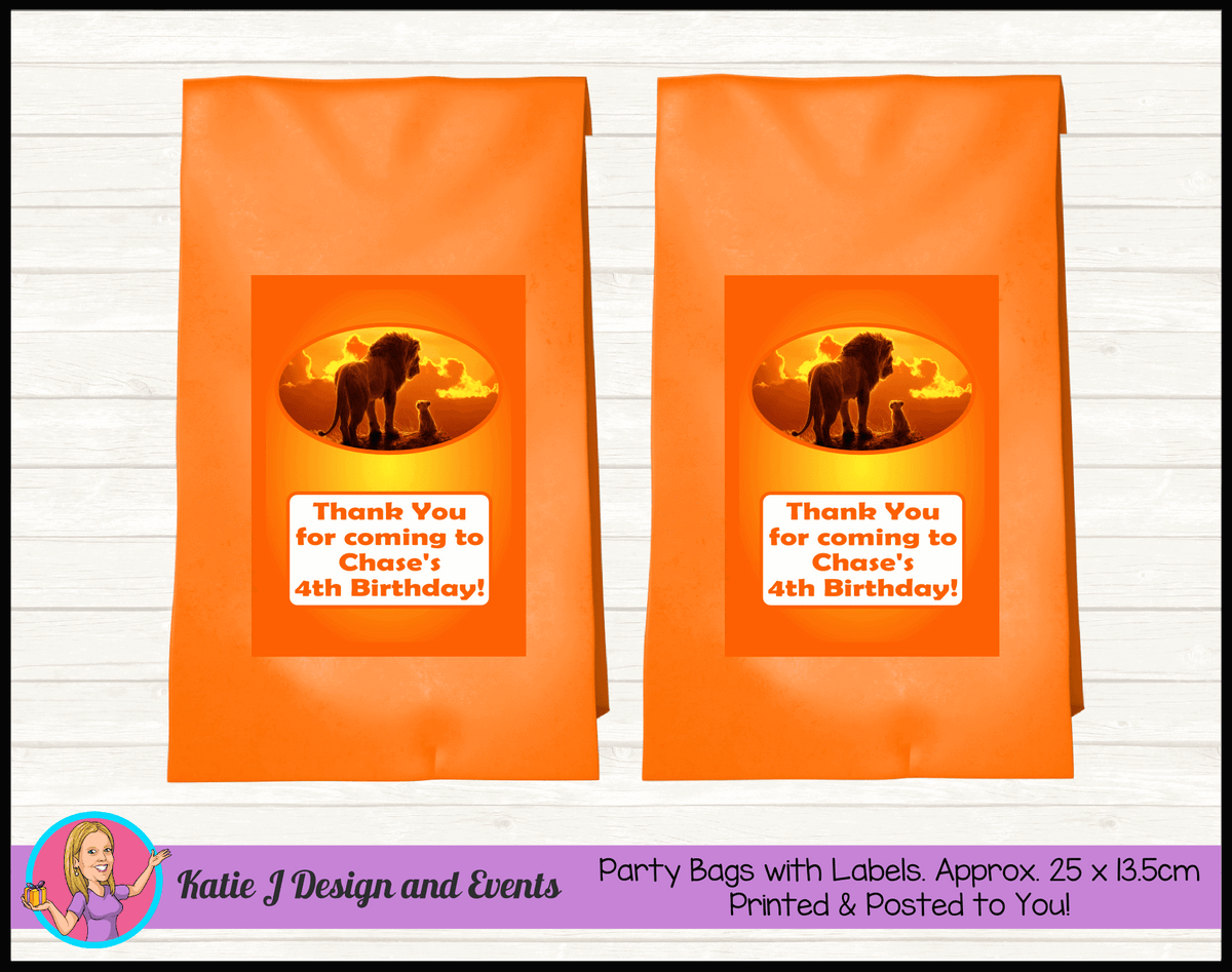 Personalised Lion King Movie Birthday Party Loot Bags