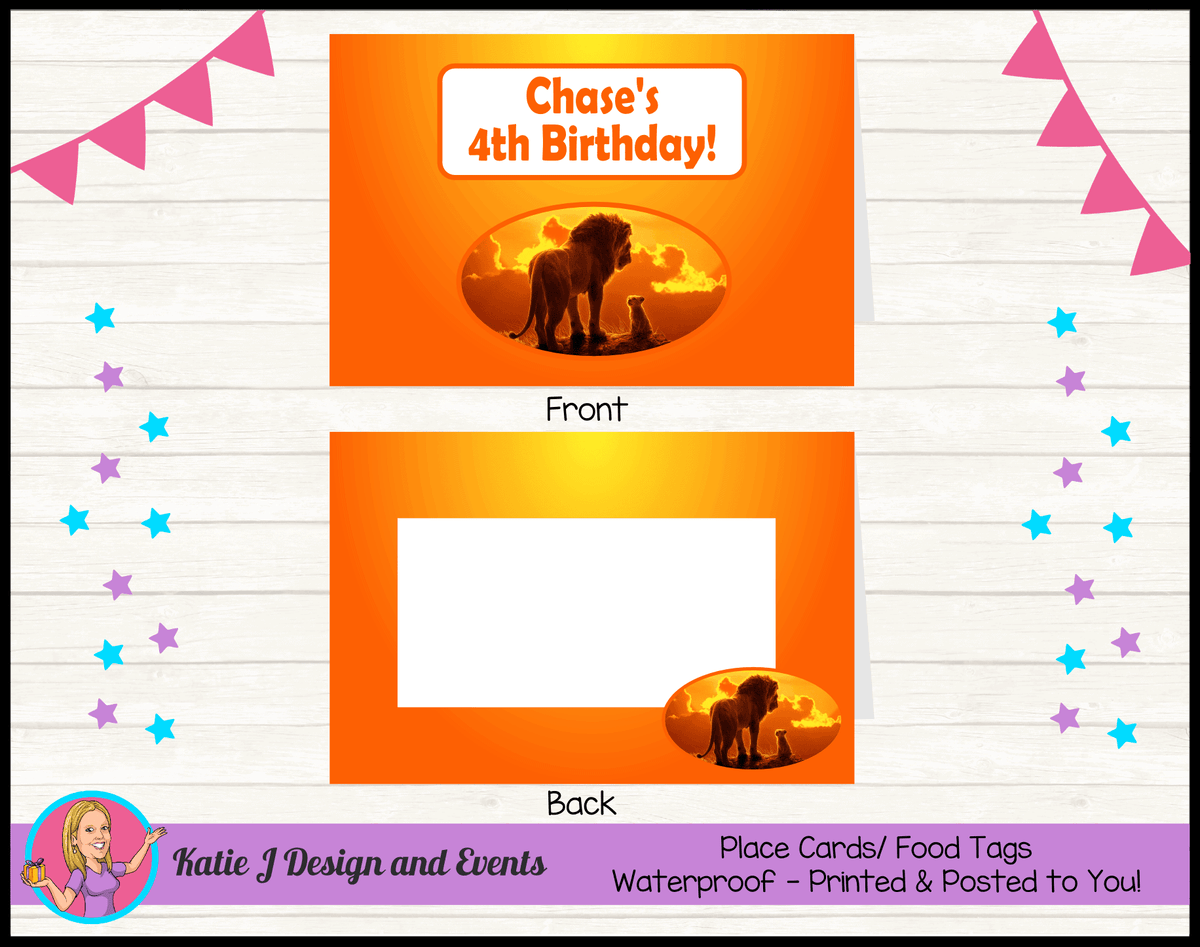 Personalised Lion King Movie Birthday Party Place Cards