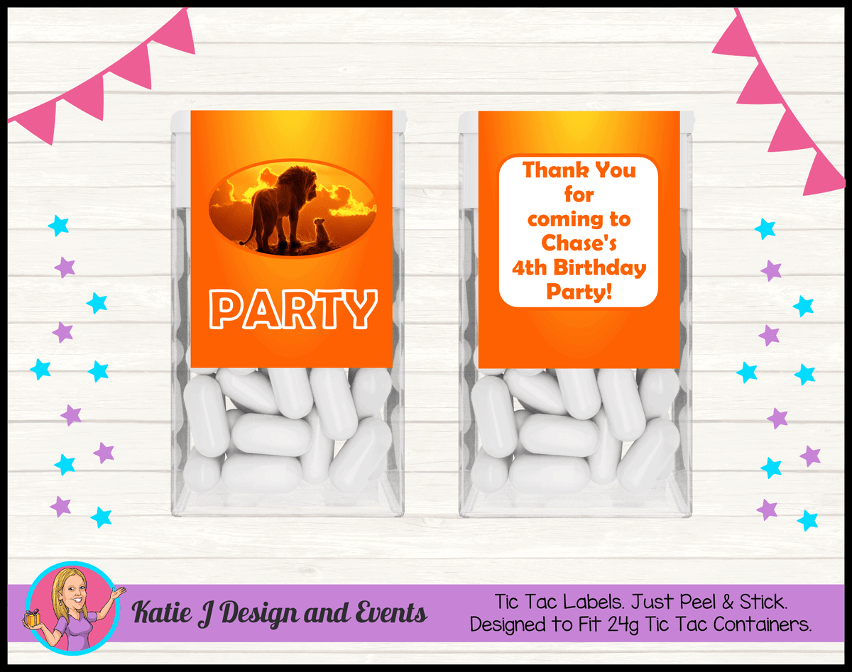 Personalised Lion King Movie Birthday Party Tic Tac Labels