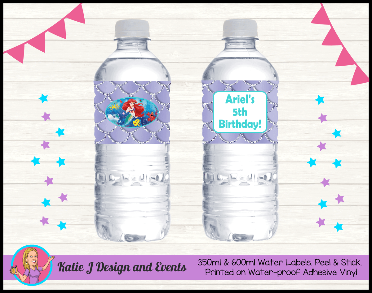 Personalised The Little Mermaid Birthday  Water Labels