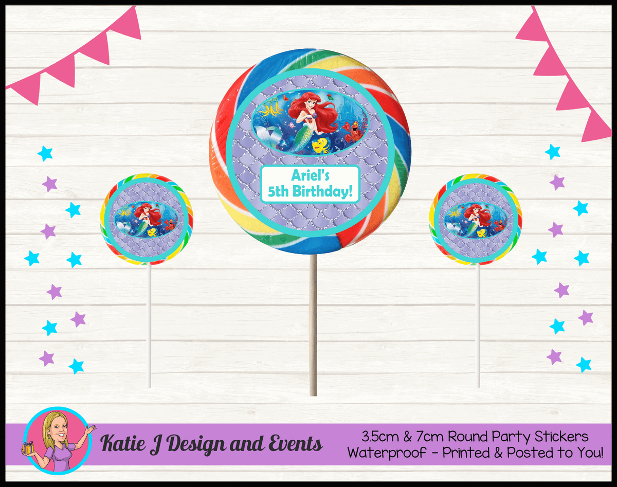 Personalised The Little Mermaid Round Lollipop Stickers