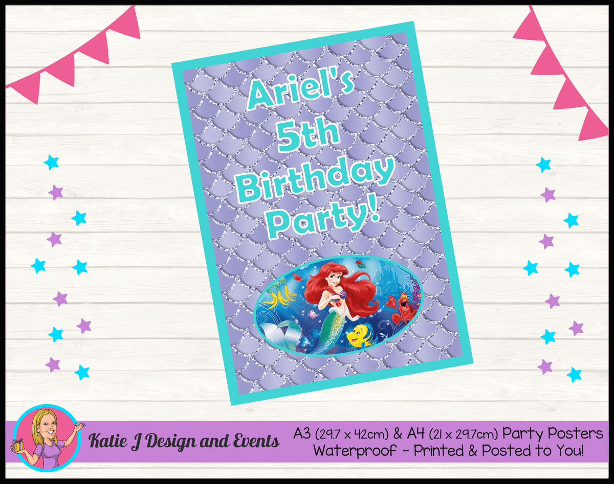 Personalised The Little Mermaid Birthday Party Poster
