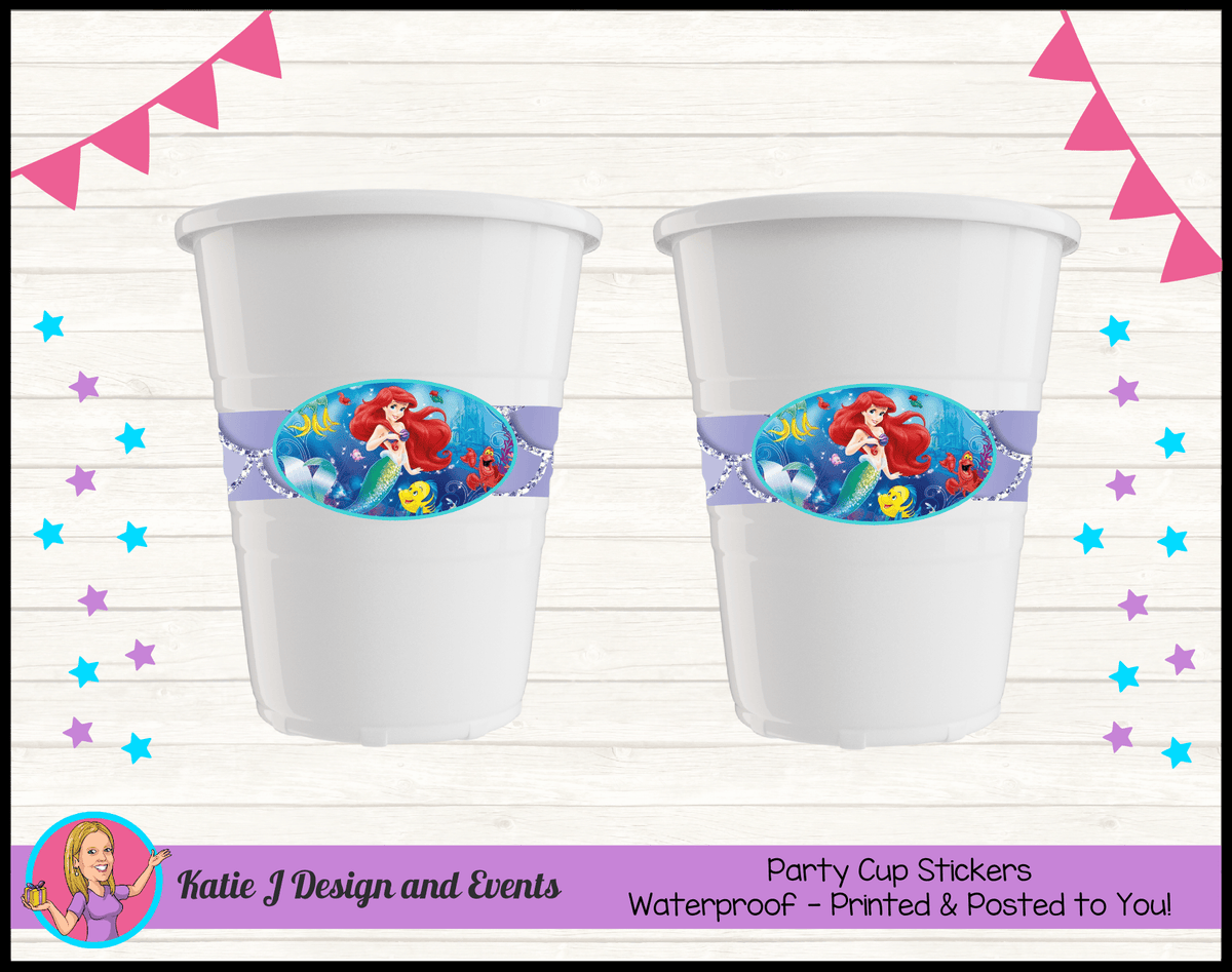 Personalised The Little Mermaid Party Cups Cup Stickers