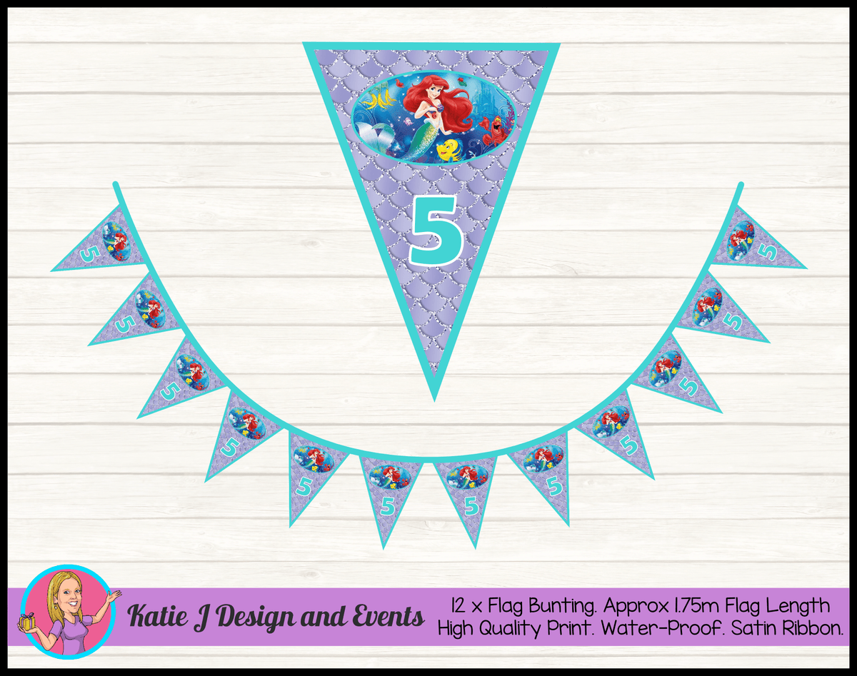 Personalised The Little Mermaid Birthday Party Flag Bunting
