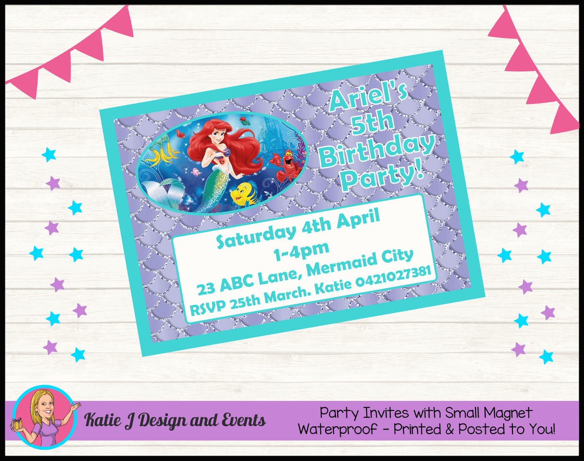 Personalised The Little Mermaid Birthday Party Invites Invitations